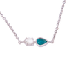 Silver 2-Stone Herkimer Diamond and Turquoise Pear Necklace