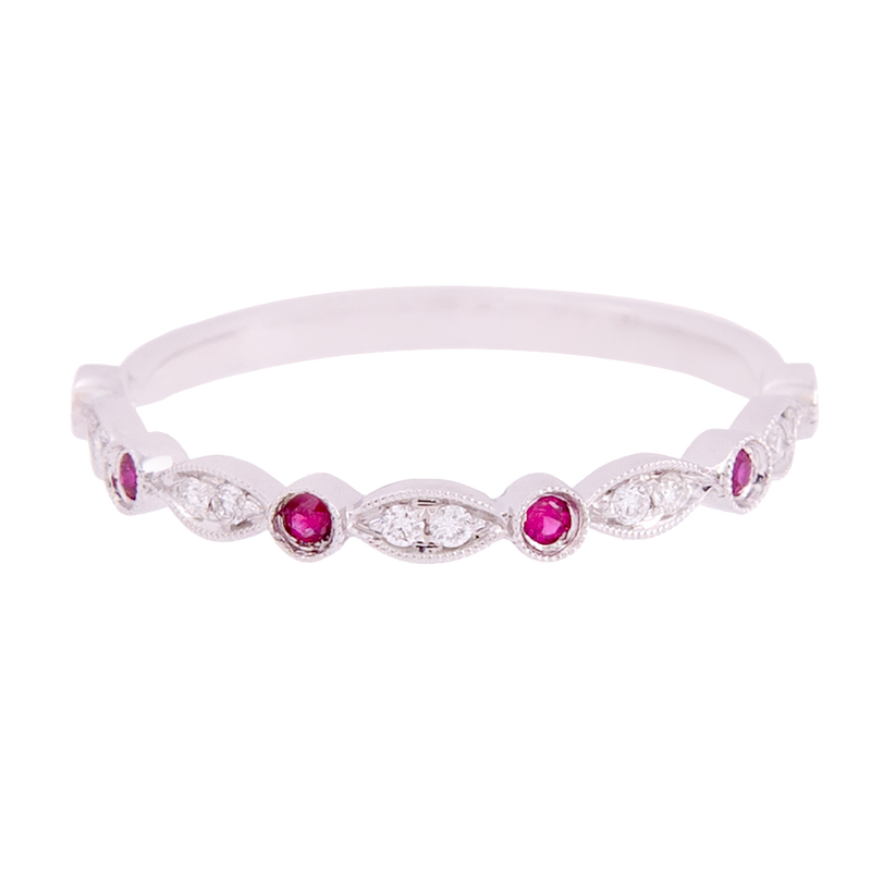 Diamond and Ruby Marquise Band