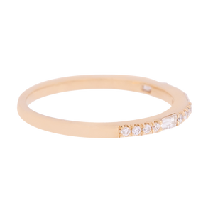 Yellow Gold Round & Baguette Diamond Band