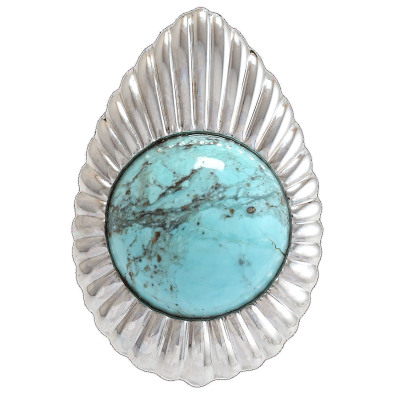 "Turquoise ""Concho"" Ring"