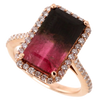 Bi-Color Pink Tourmaline Diamond Halo Ring