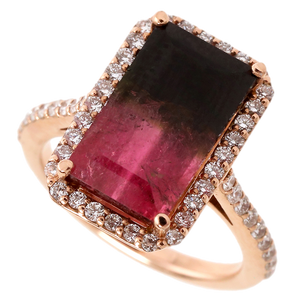 Bi-Color Tourmaline & Diamond Halo Rose Gold Ring