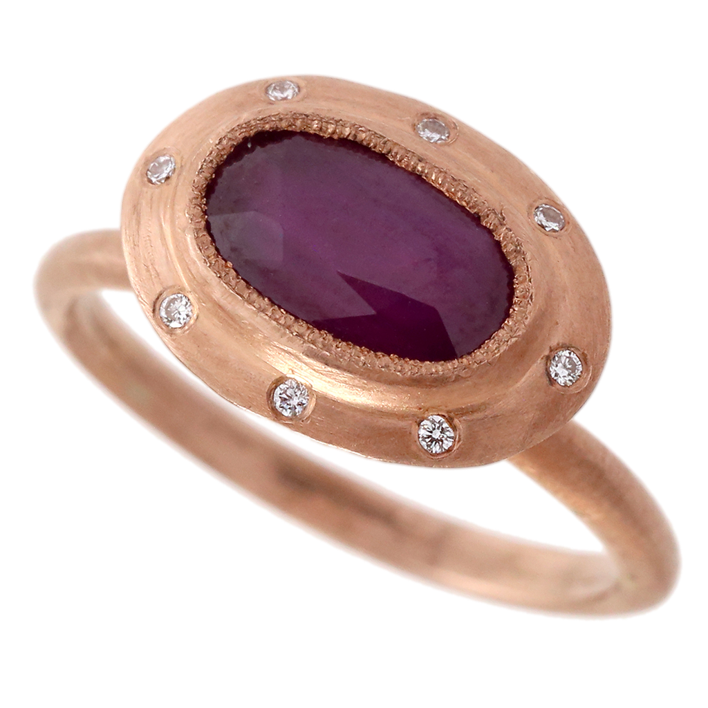Carved Ruby & Diamond Ring