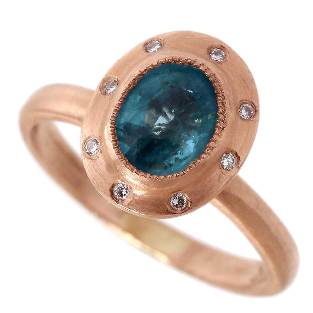 Neon Apatite & Diamond Ring