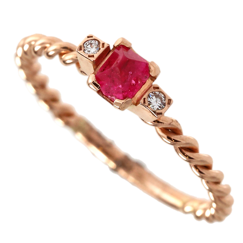 Dainty Red Spinel Crystal Twisted Ring