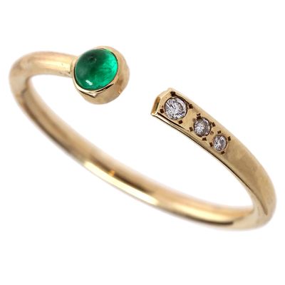 Dainty Colombian Emerald & Diamond Negative Space Ring