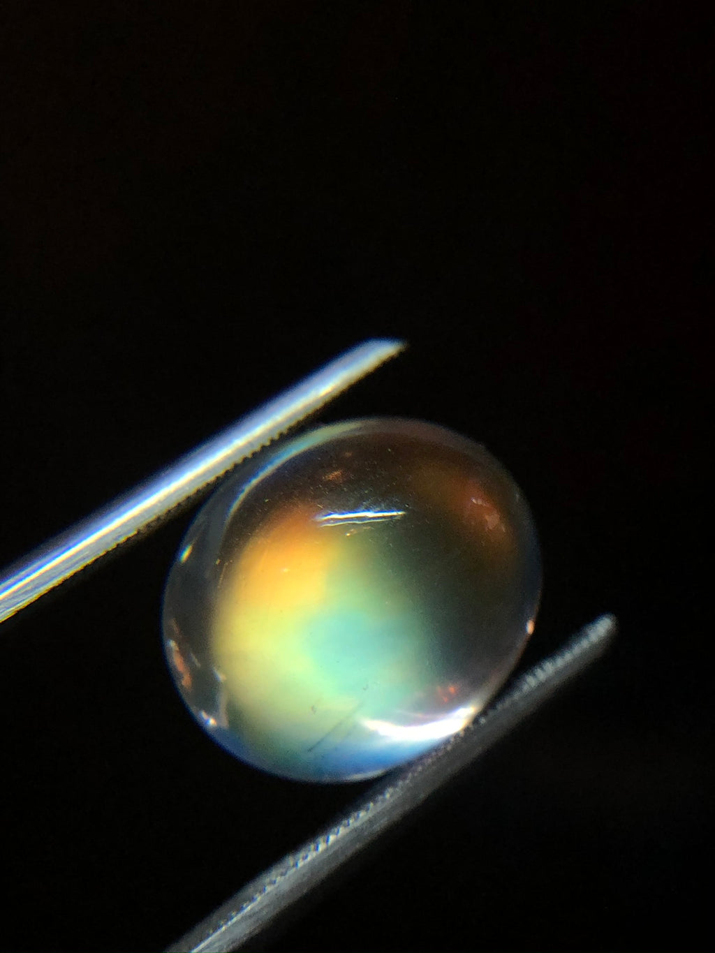 GIA Certified Oval Rainbow Moonstone Cabochon