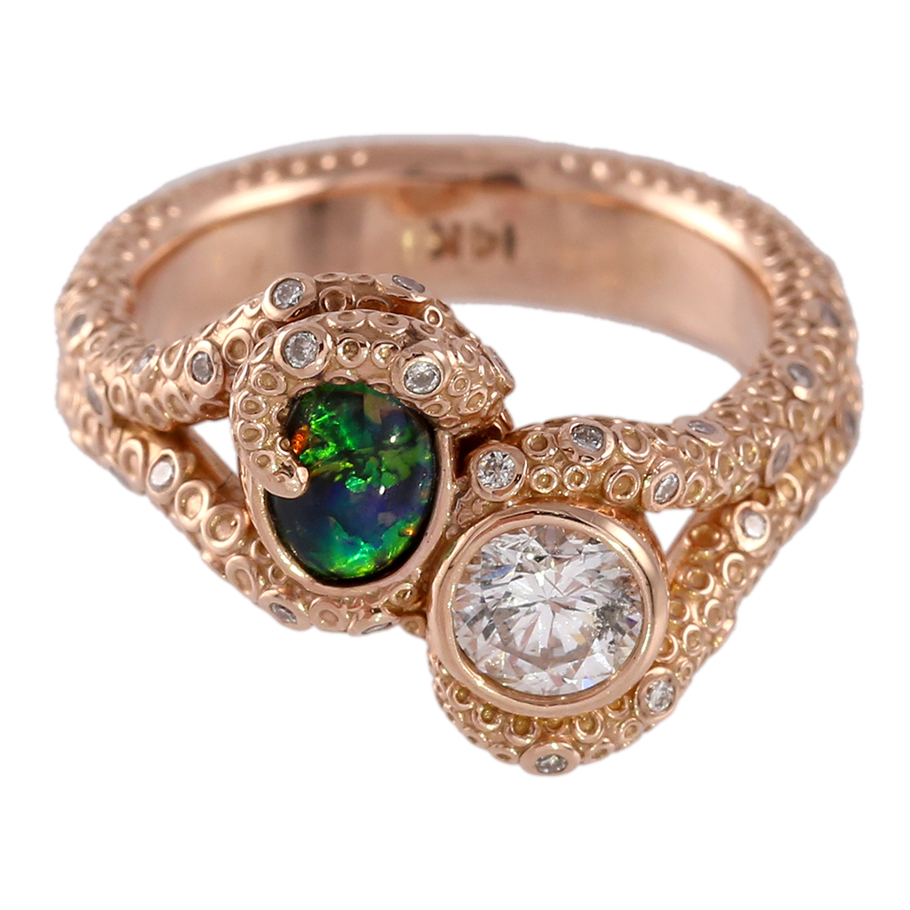 Black Opal & Diamond Octopus Ring