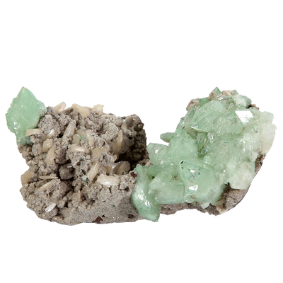 Green Apophyllite with stilbite on matrix