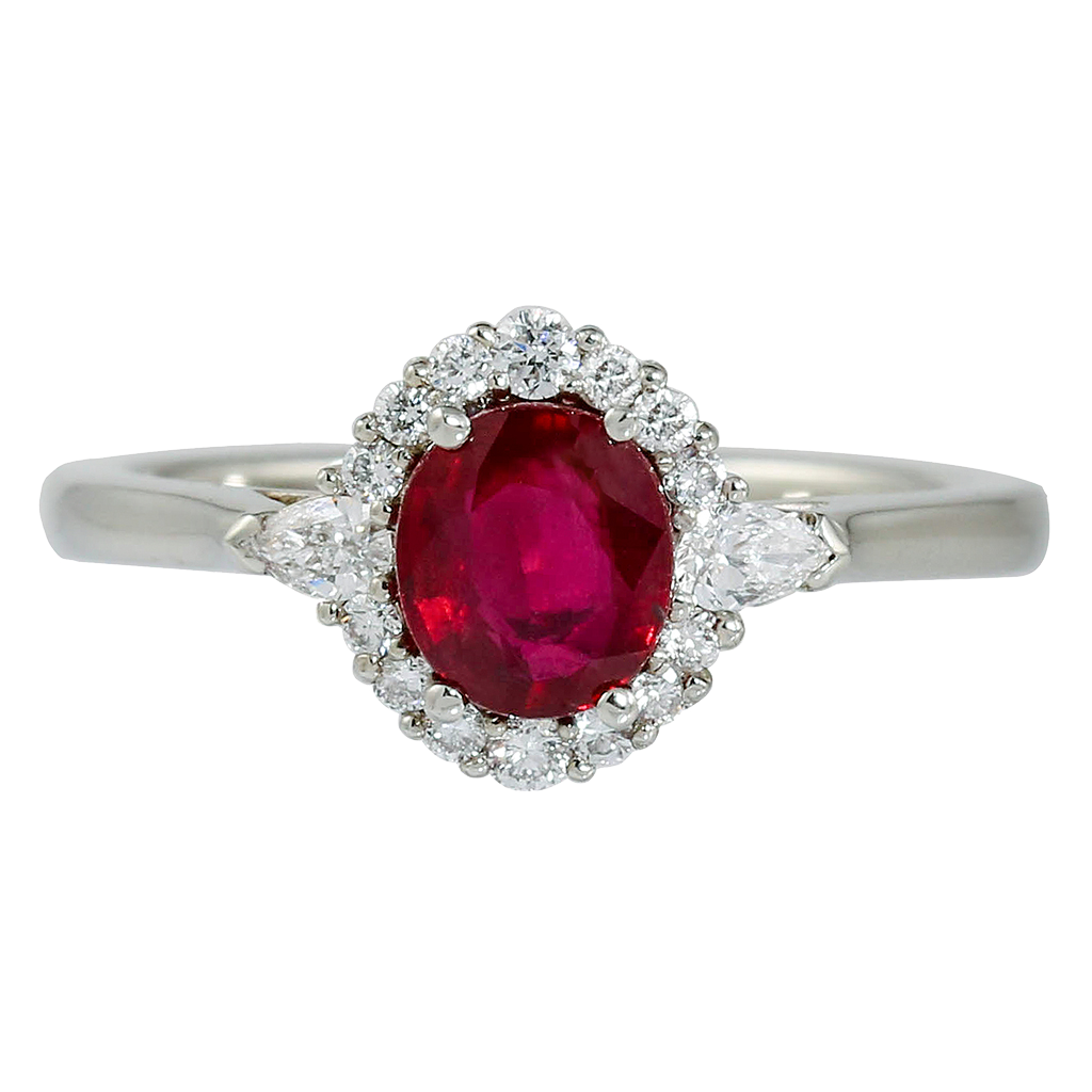 AGL Certified Ruby Ring with Diamond Halo