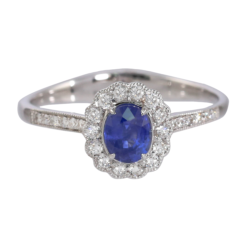 Burma Blue Sapphire and Diamond Floral Ring