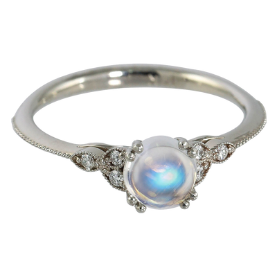 Dainty Moonstone and Diamond Ring
