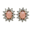 Conch Pearl Diamond Halo Stud Earrings