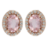 Oval Morganite & Diamond Halo Stud Earrings