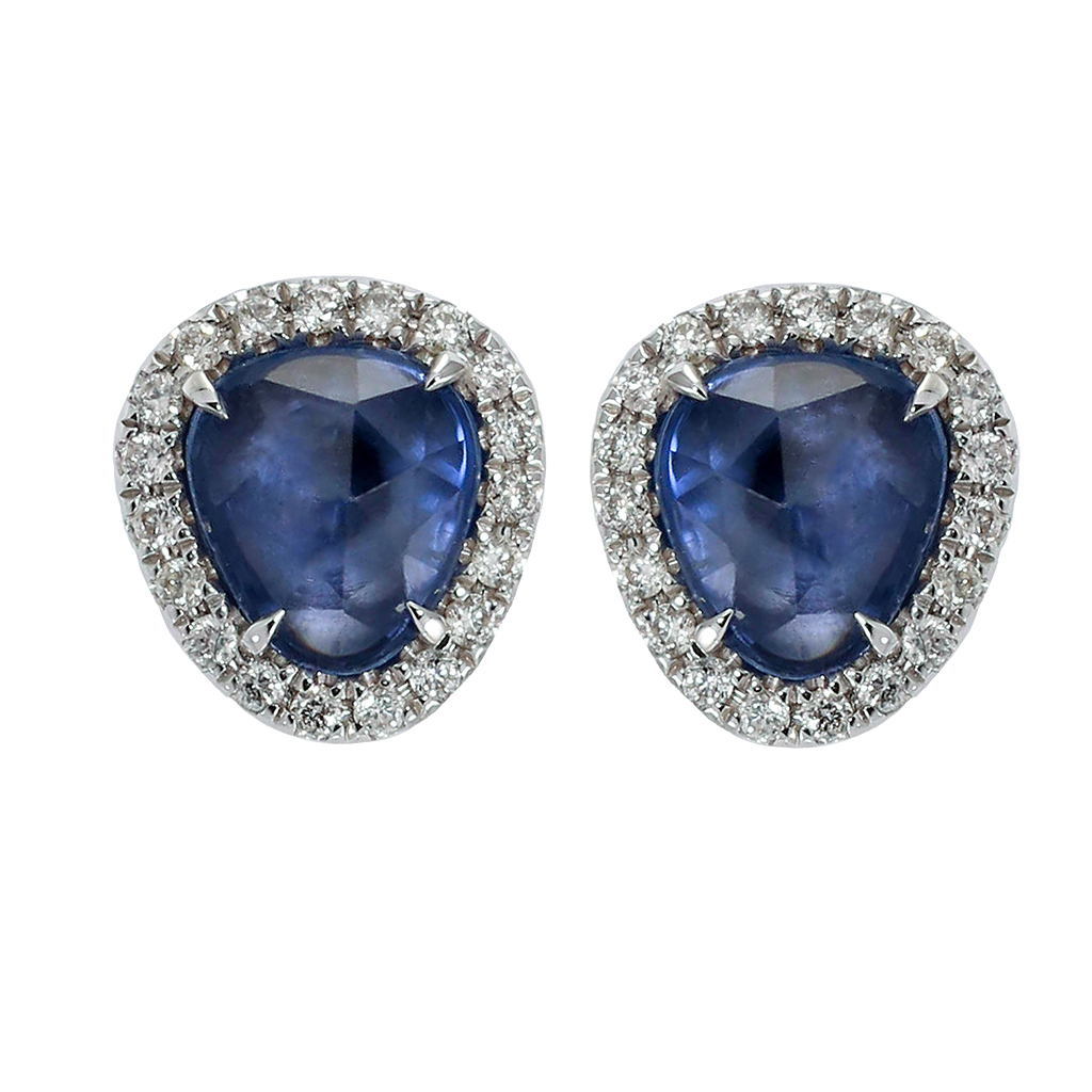 Burma Blue Sapphire Stud Earrings