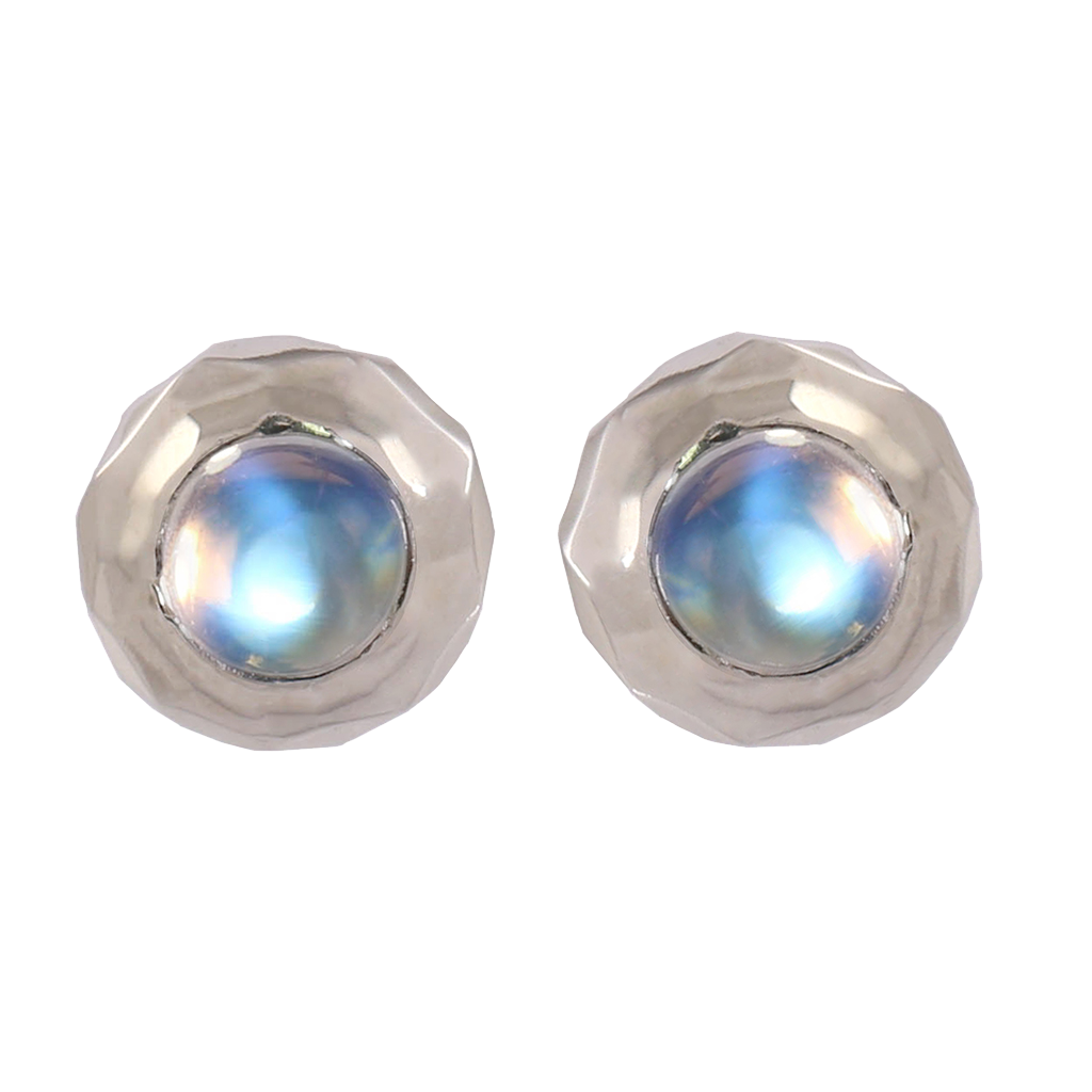 Hammered White Gold Moonstone Studs