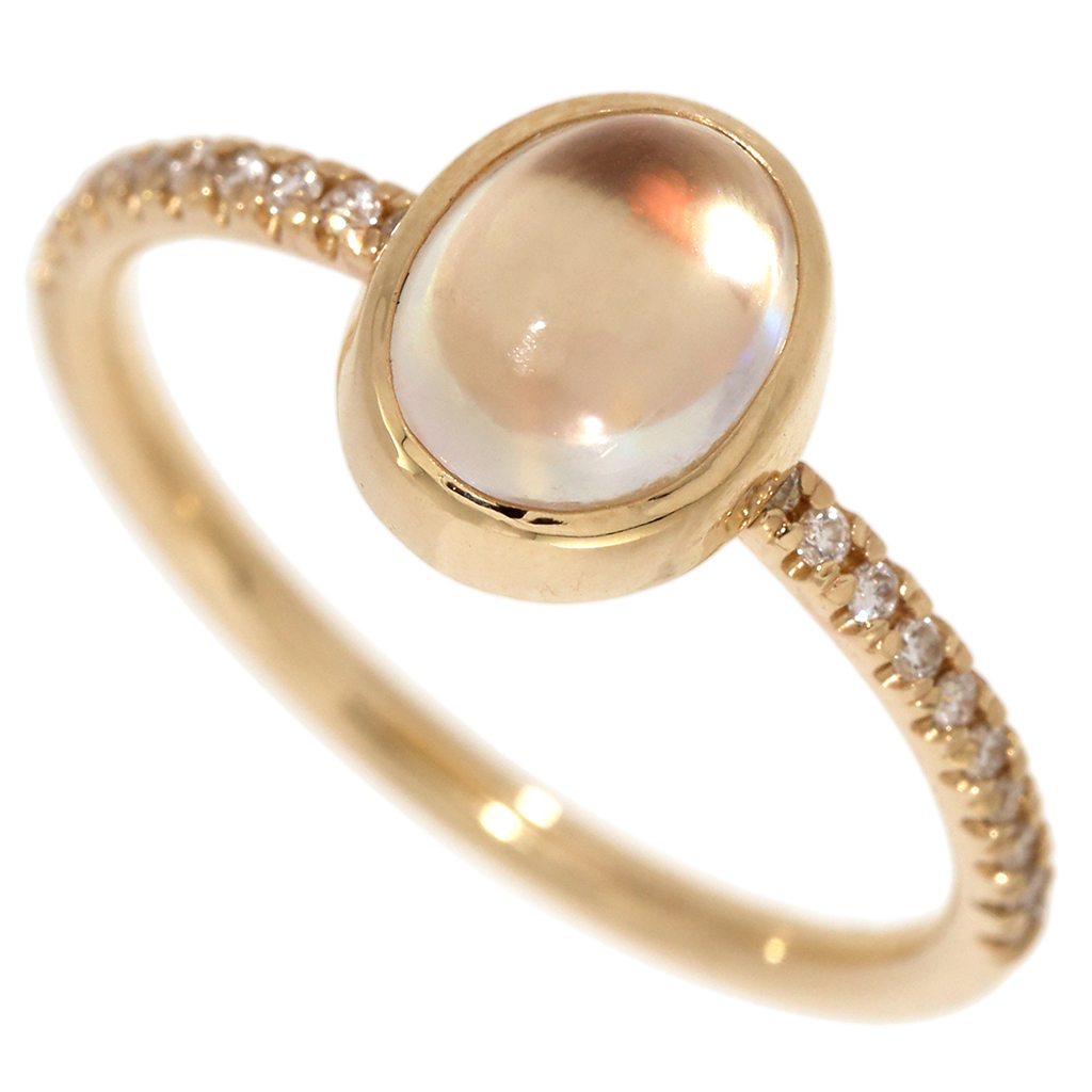 Moonstone & Diamond Yellow Gold Ring