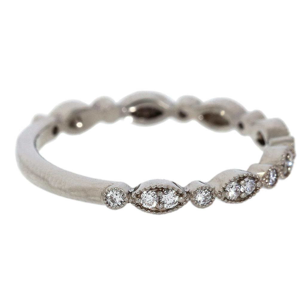 Alternating Marquise Pattern Diamond White Gold Band