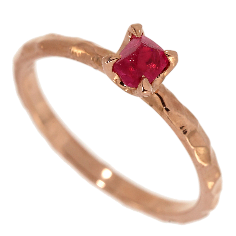 Dainty Red Spinel Crystal Ring