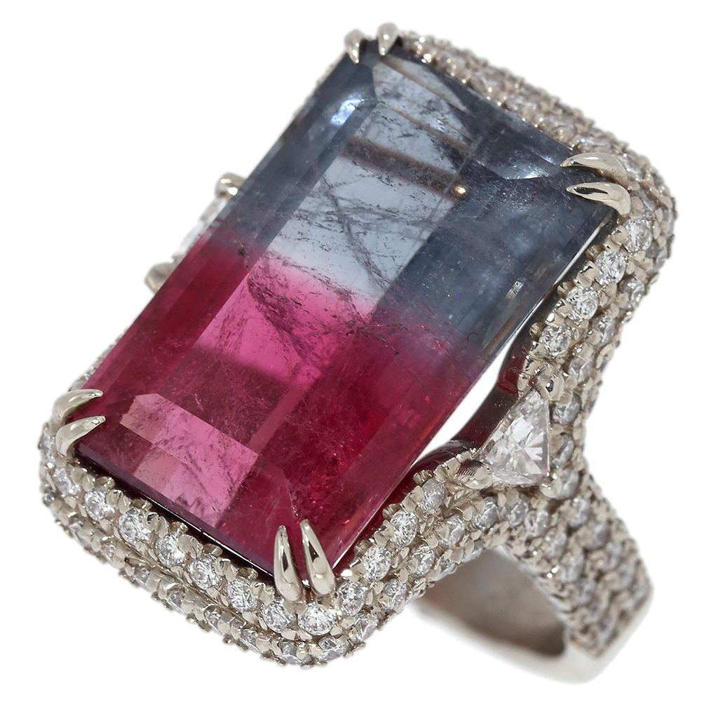 Bi-Color Tourmaline & Diamond Halo White Gold Ring