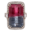Bi-Color Pink Tourmaline & Diamond Ring