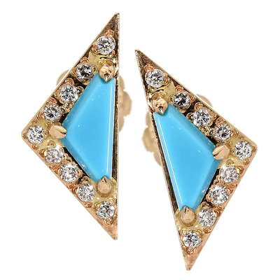 Turquoise & Diamond Stud Earrings