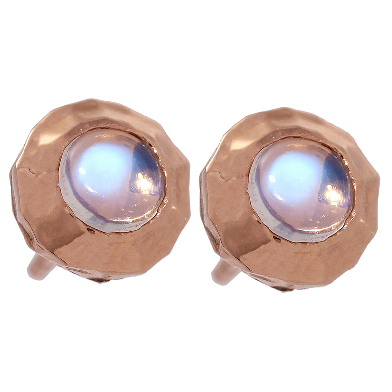 Hammered Rose Gold Moonstone Studs