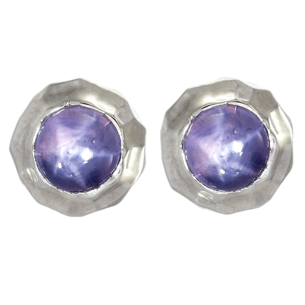 Hammered White Gold Star Purple Sapphire Earrings