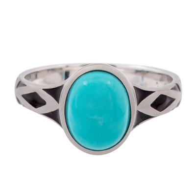 Aztec Small Style Oval Turquoise Ring