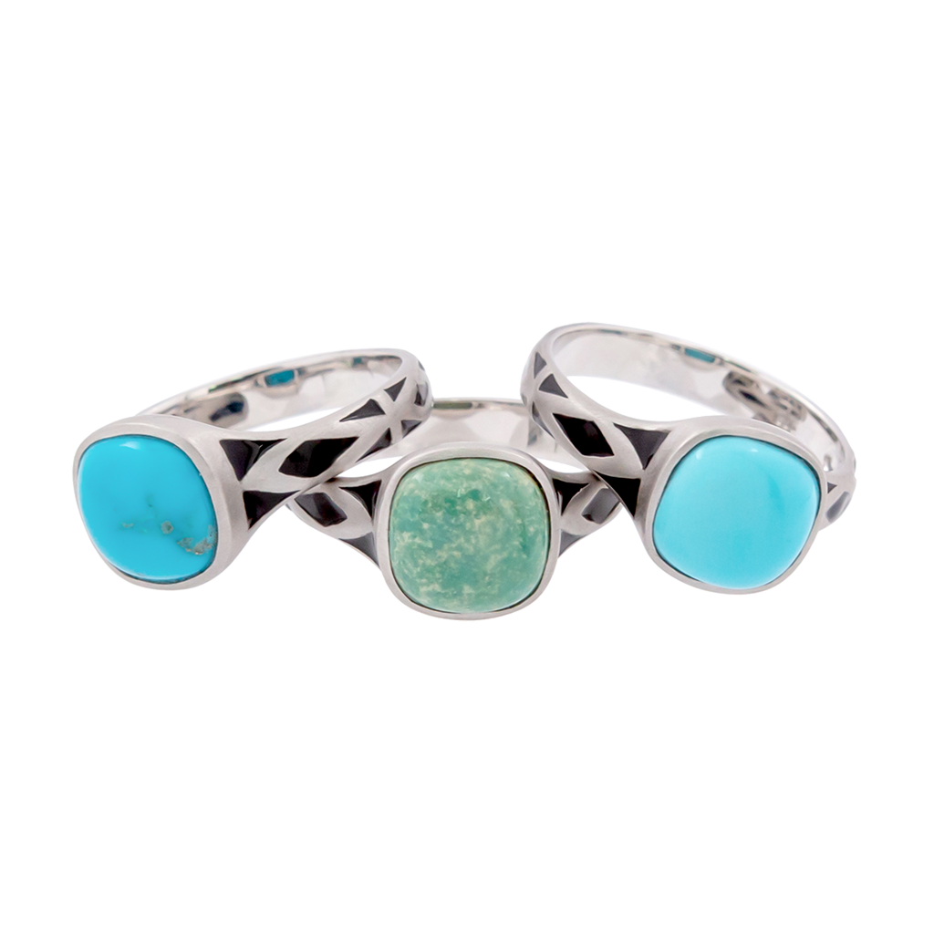 Aztec Small Style Cushion Turquoise Ring