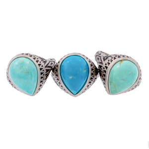 Aztec Pear Turquoise Ring