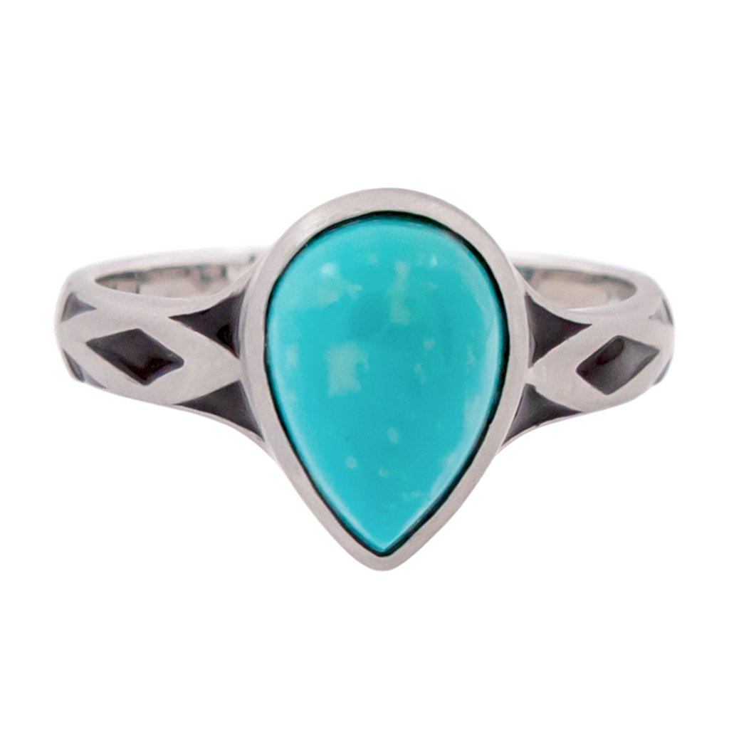 Aztec Small Style Pear Turquoise Ring