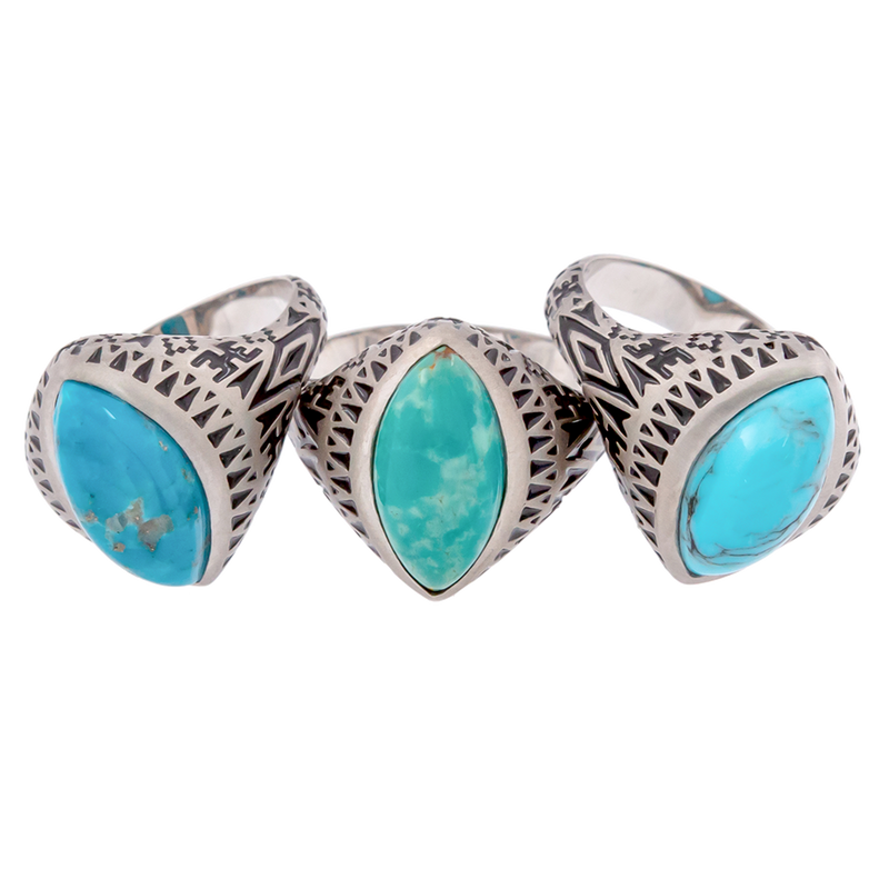 Aztec Marquise Turquoise Ring