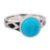 Aztec Small Style Round Turquoise Ring