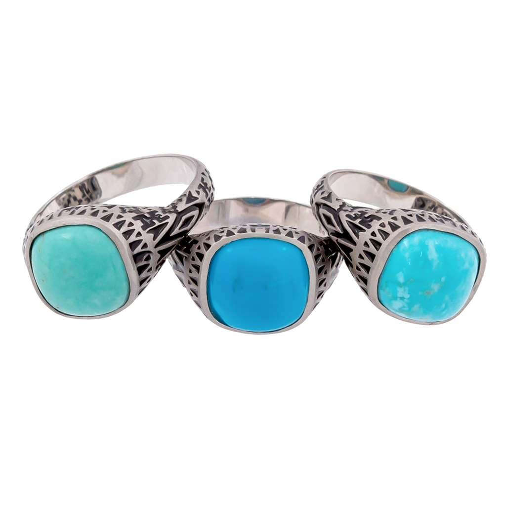 Aztec Cushion Turquoise Ring