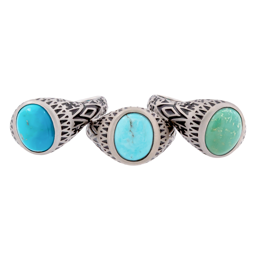 Aztec Oval Turquoise Ring