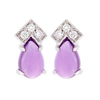 Geometric Amethyst & Diamond Pear Stud Earrings