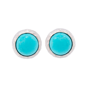 Turquoise Hammered Round Studs