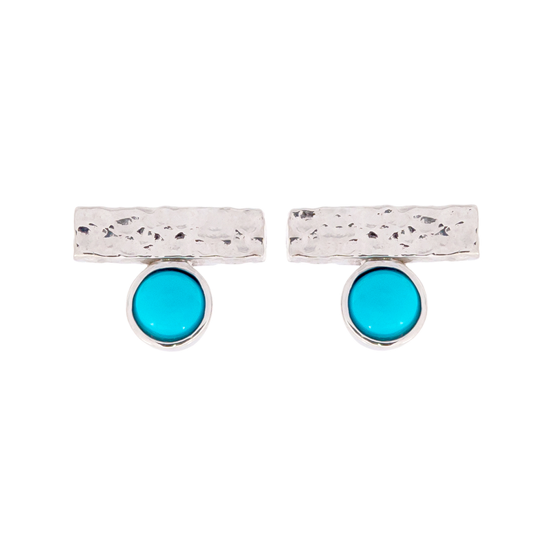 Round Turquoise Bar Stud Earrings