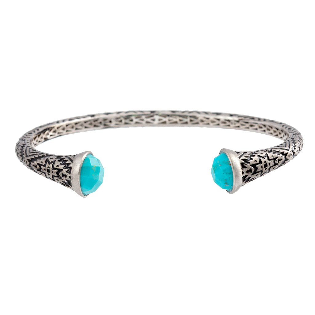 Aztec Faceted Round Turquoise Cuff