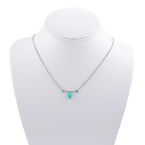 3-Stone Pear & Round Turquoise Necklace
