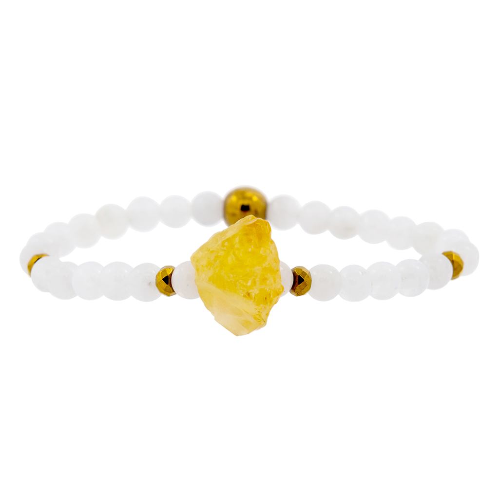 Rough Citrine and Moonstone Gemstone Bracelet