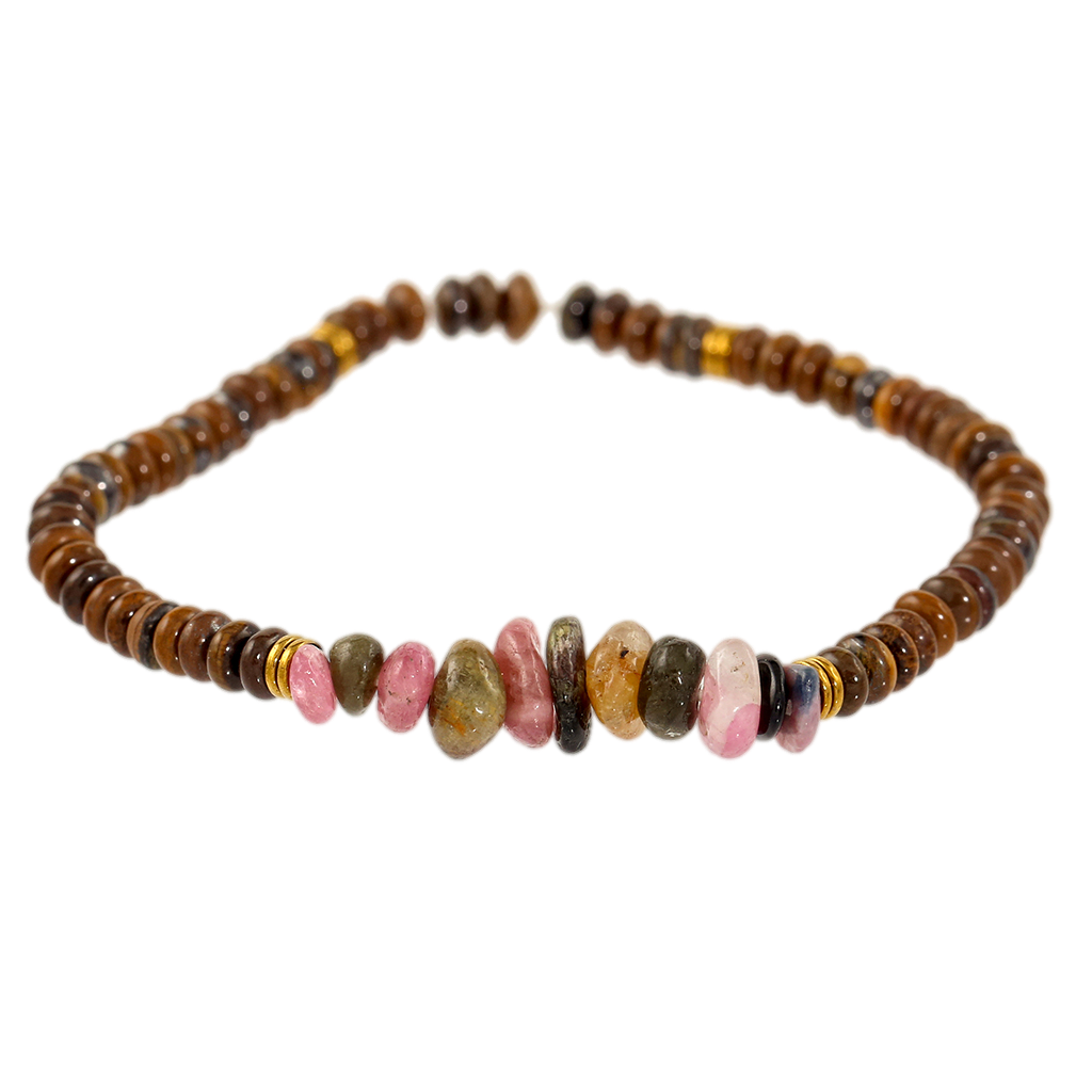 Tigers Eye & Tourmaline Gemstone Bracelet