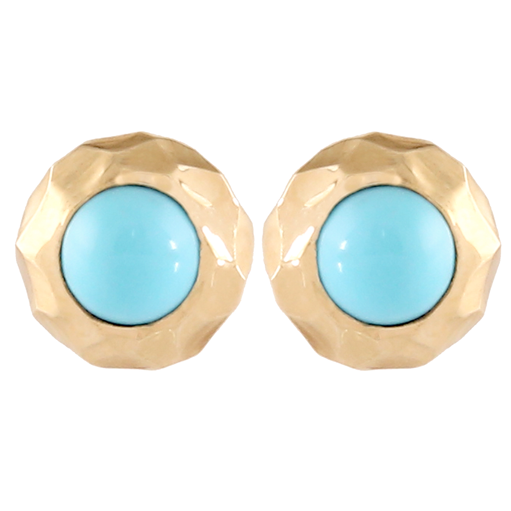 Gold Turquoise Stud Earrings