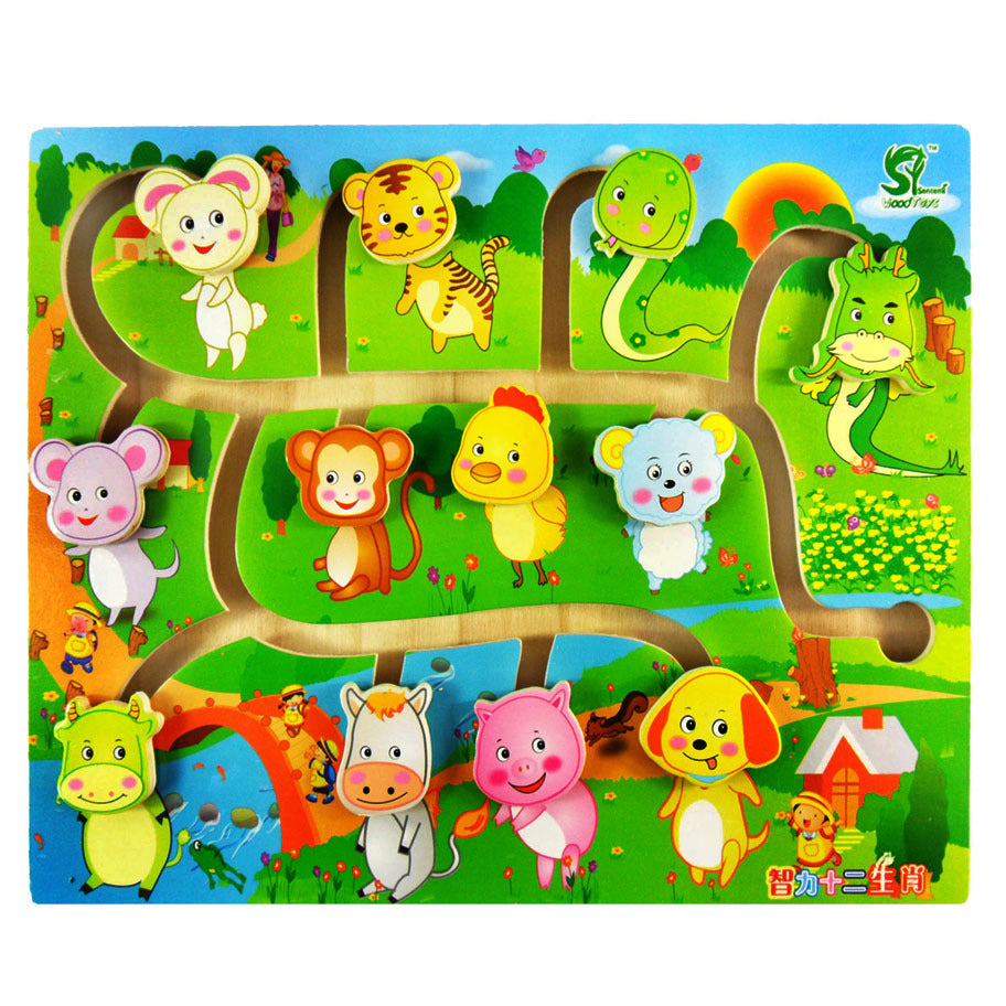 Wooden Montessori Animal Labyrinth Puzzle