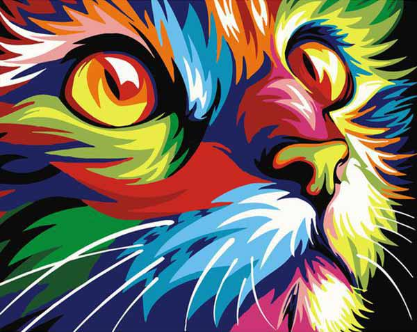 Rainbow Cat Paint-By-Numbers Kit