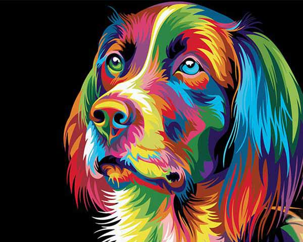 Rainbow Dog Paint-By-Numbers Kit