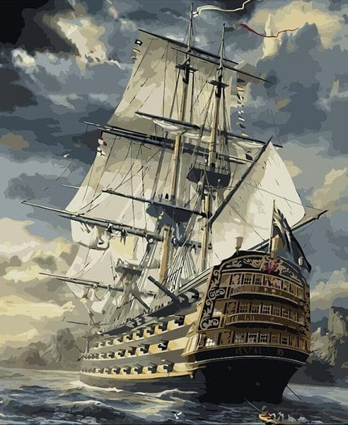 Majestic Storm Ship Paint-By-Numbers Kit