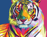 Abstract Colorful Tiger Paint-By-Numbers Kit