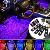 LuminAuto™ Smart Multicolor Car Interior  LED Light Kit (4 Pieces) Galaxy Edition ( Solid Light Colors  + Galaxy Stars Projection Mode)